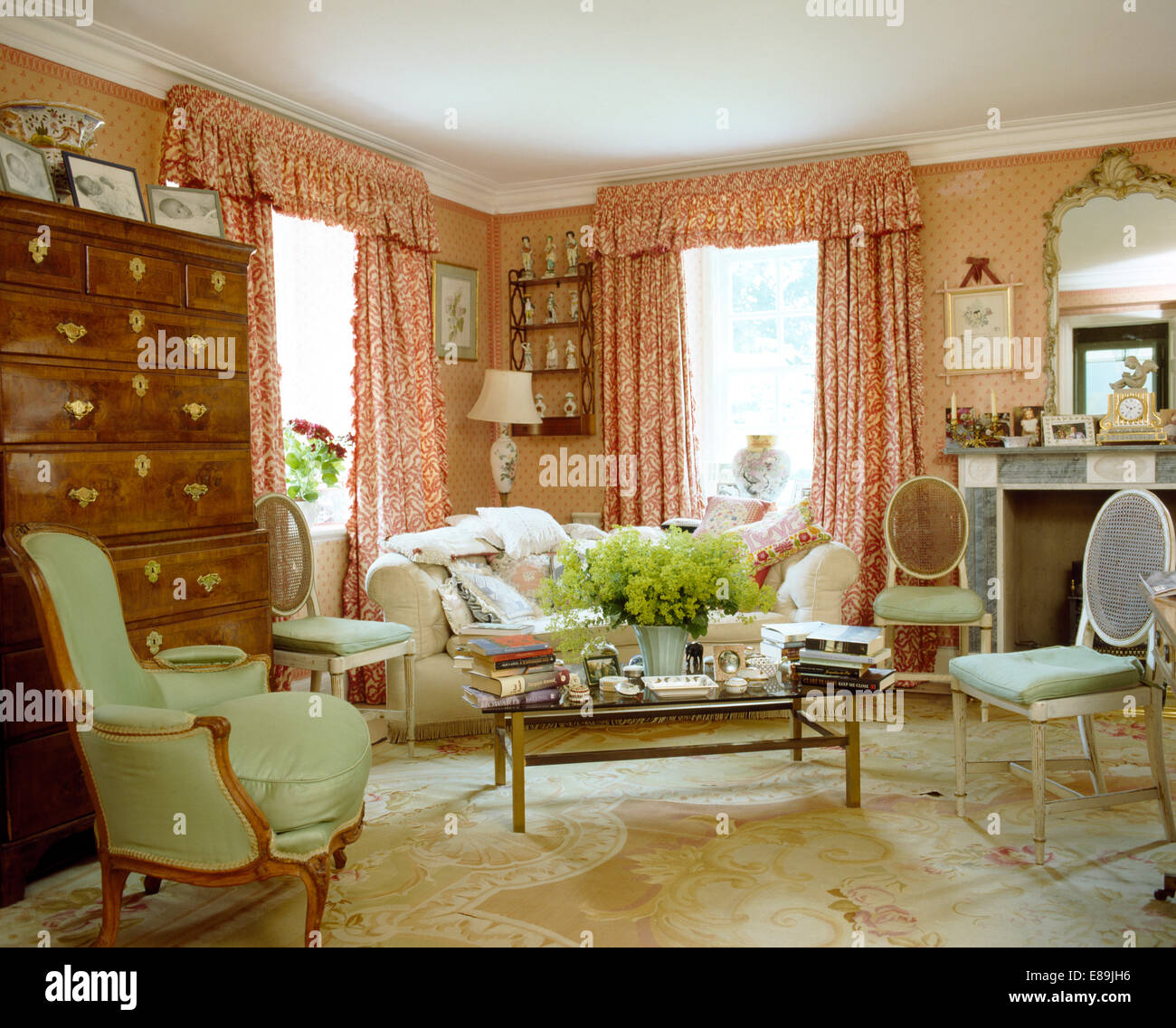 Red+white curtains in pink country living room with antique ...