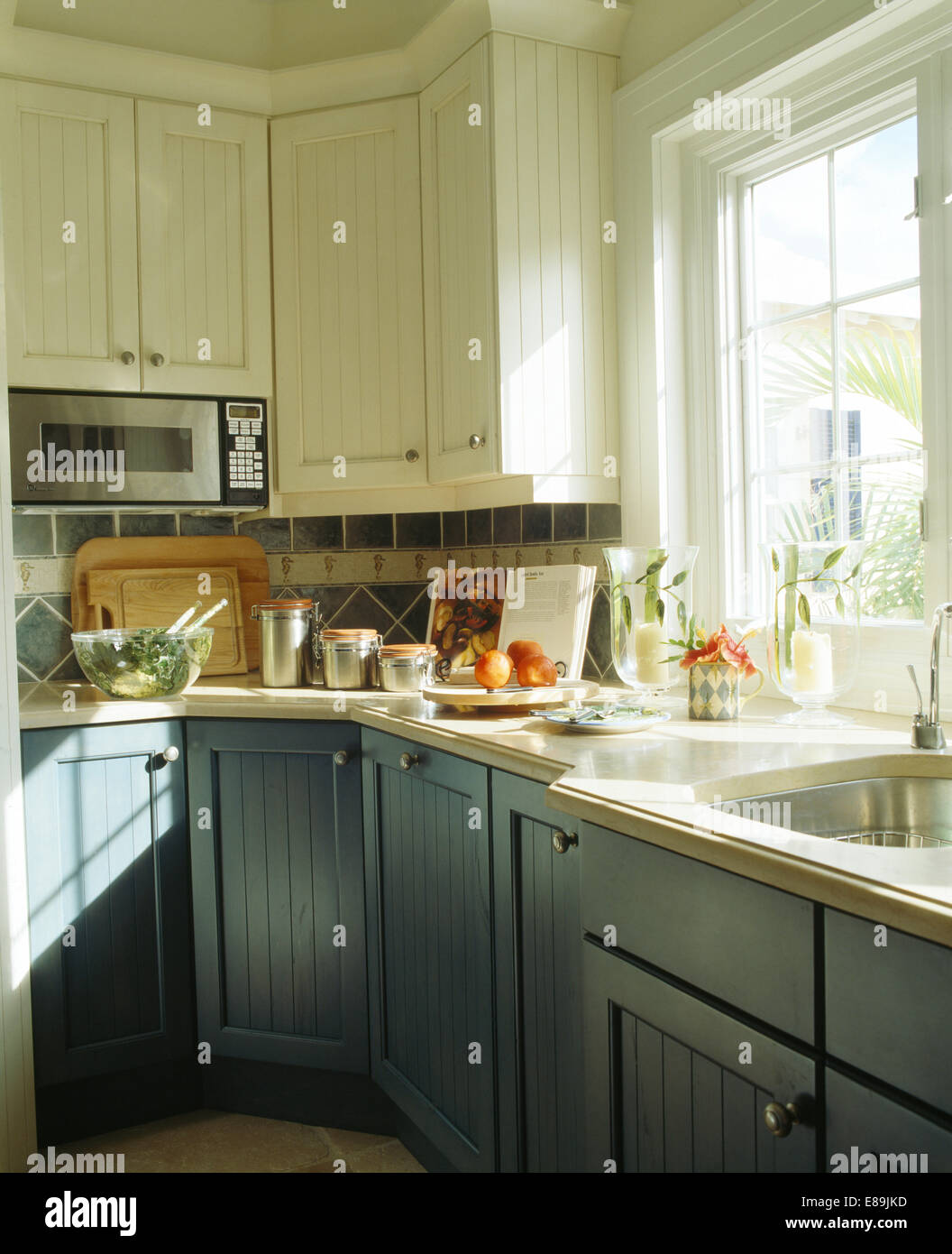 Bluegrey Fitted Cupboards In White Kitchen With Microwave Fitted - Grey fitted kitchens