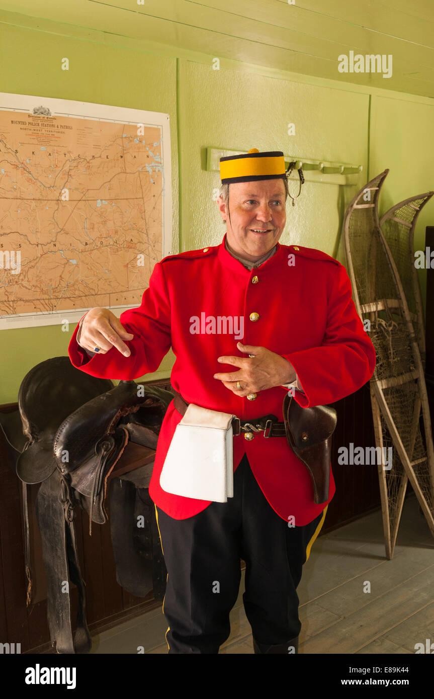 Elk203-6442v Canada, Alberta, Calgary, Heritage Park Historical Village, Canadian Mounty interpreter - Stock Image