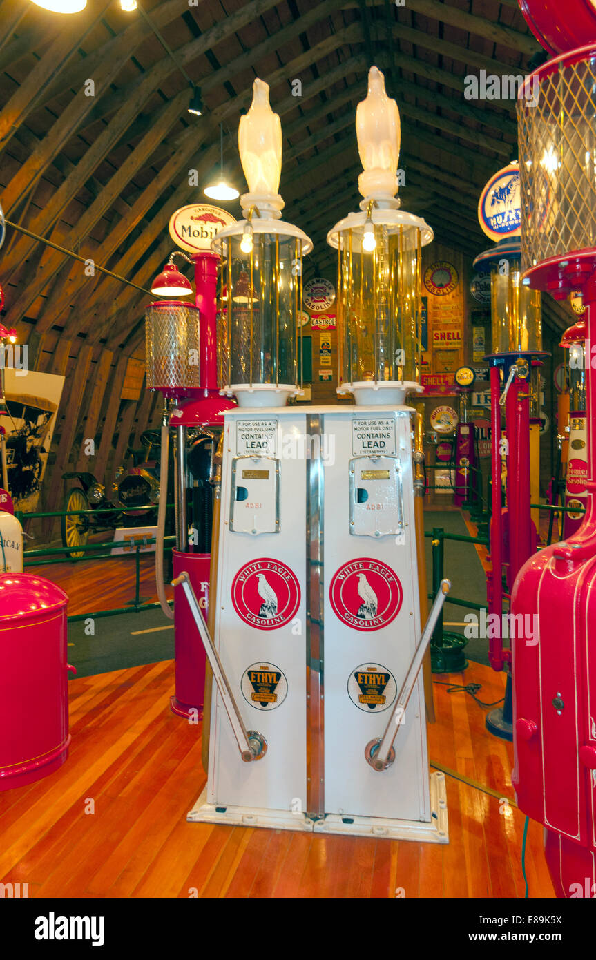 Elk203-6455v Canada, Alberta, Calgary, Heritage Park Historical Village, Gasoline Alley, vintage gas pumps - Stock Image