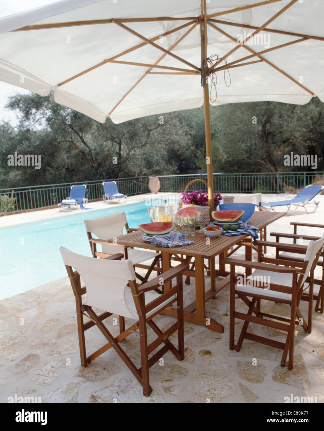 White director\'s chairs and wooden table below large white umbrella ...