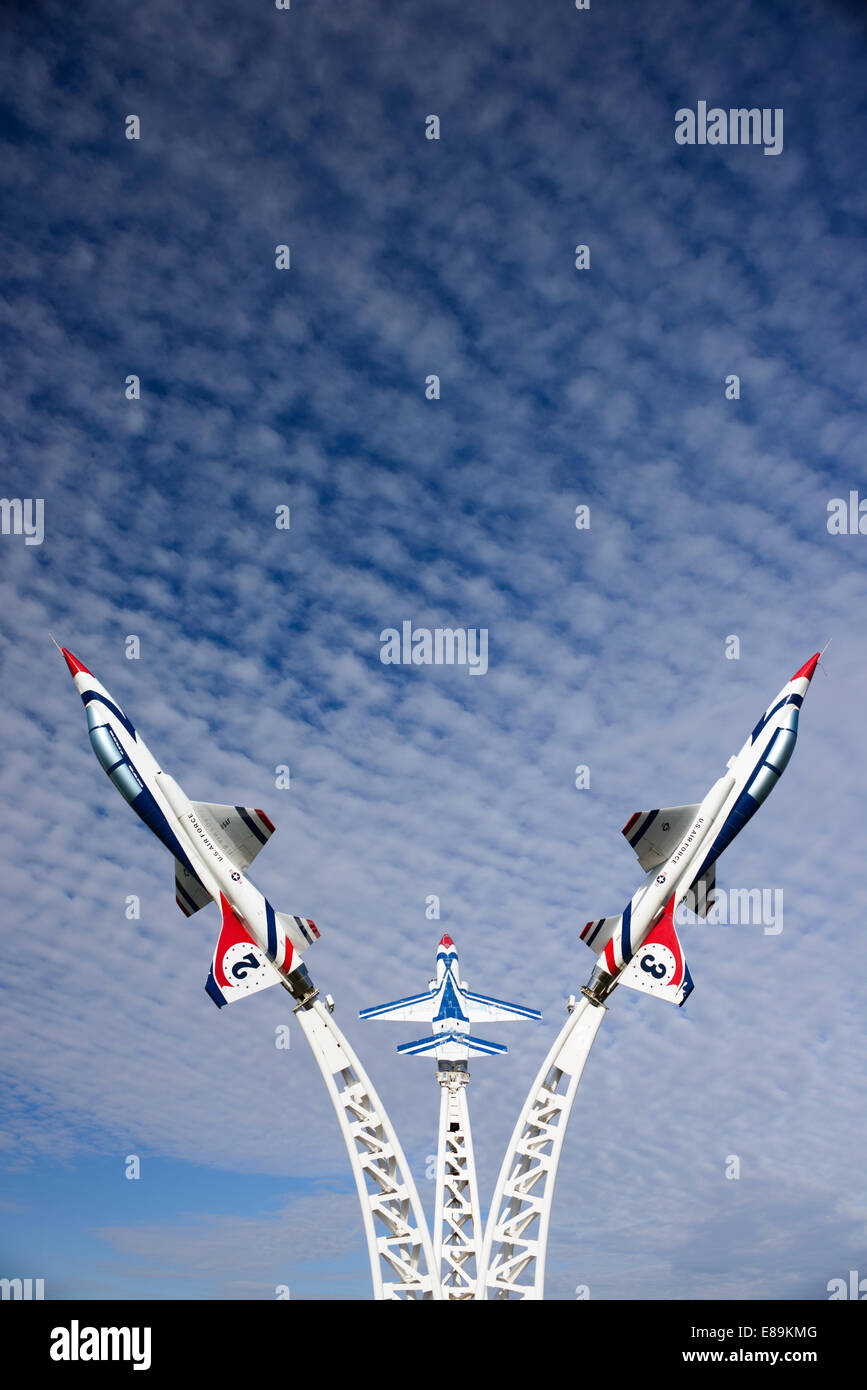 Display of T-38 airplanes at the Owatonna Municipal Airport. The Northrop T-38 Talon is a two-seat, twin-engined - Stock Image
