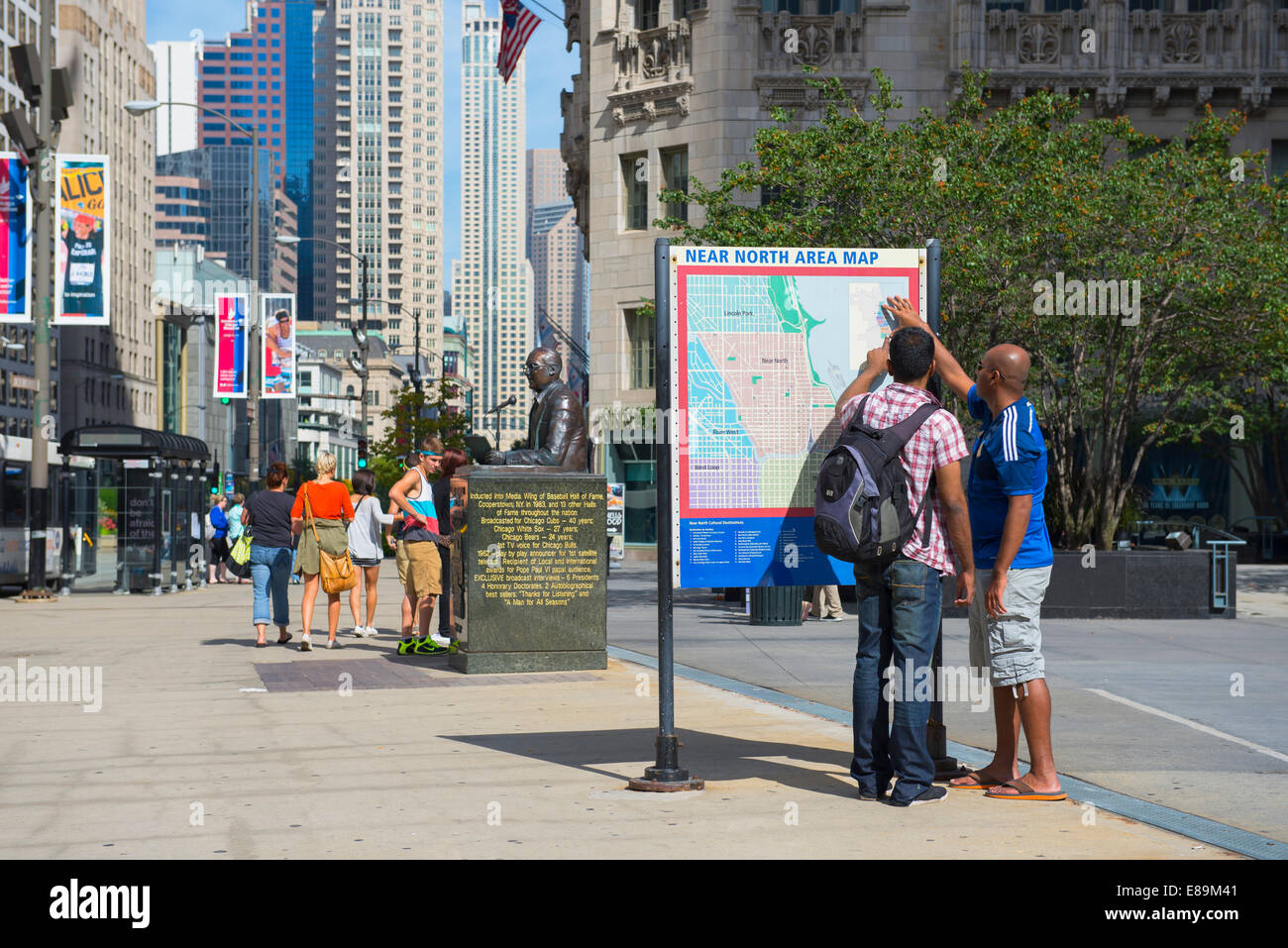 Chicago Magnificent Mile Tourists Looking At Map Michigan Avenue