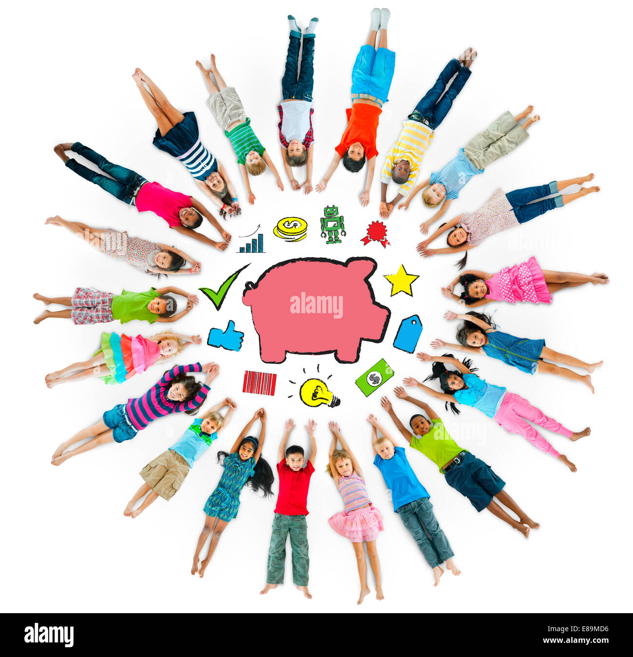 Group of Children Circle with Symbol - Stock Image