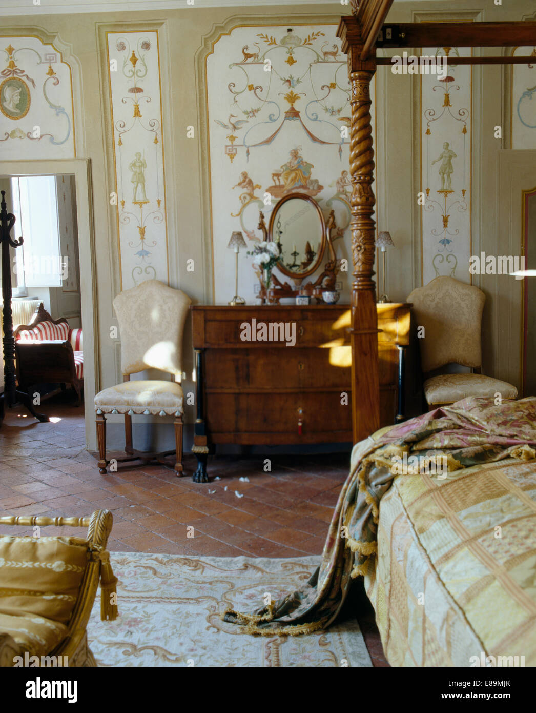 Decoratively painted wall panels in large Tuscan bedroom with ...
