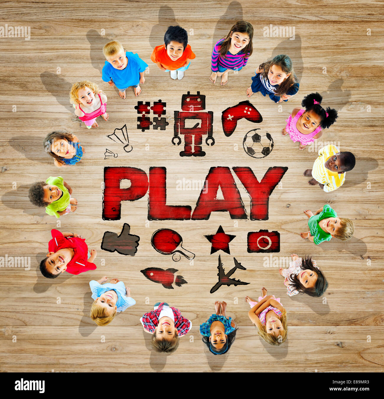 Multiethnic Group of Children with Play Concept - Stock Image