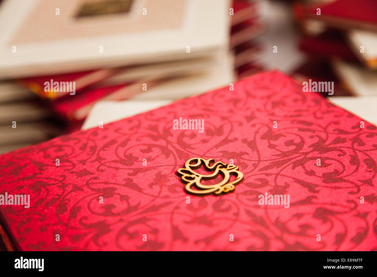 Asian Indian Hindu Wedding Guest Ceremony Book In A Red Pattern