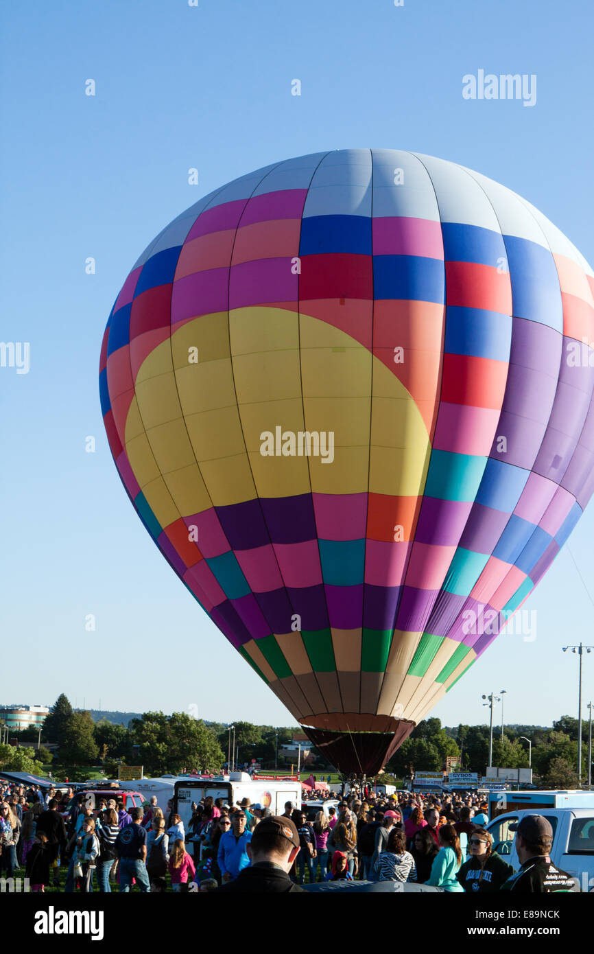 A hot-air balloon is readied for launch Stock Photo