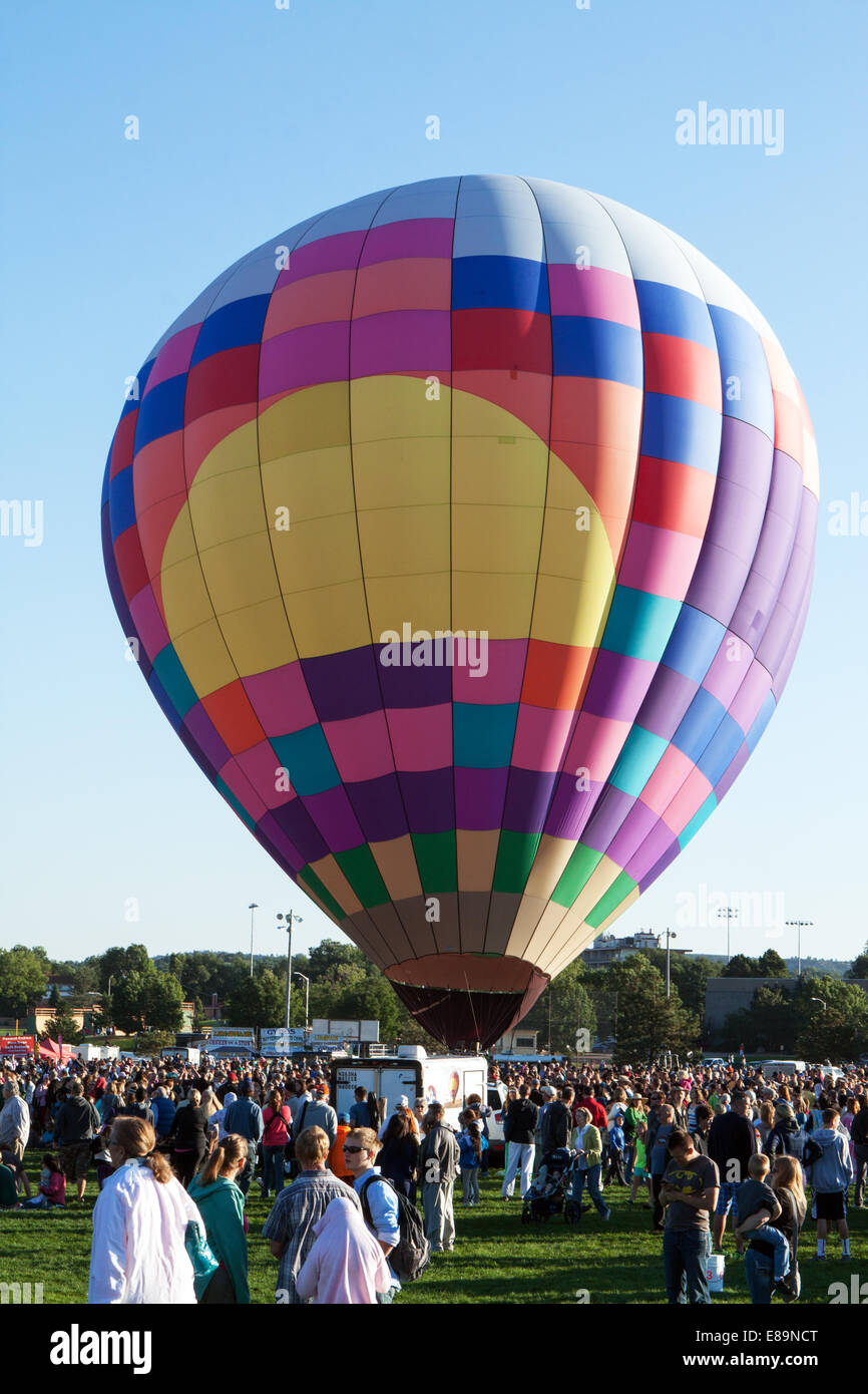A hot air balloon is readied for launch - Stock Image