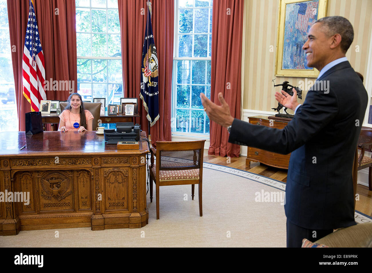 President Barack Obama jokes with Mattina Falco, 19-year-old Make-A-Wish recipient from Worchester, Mass., as she - Stock Image