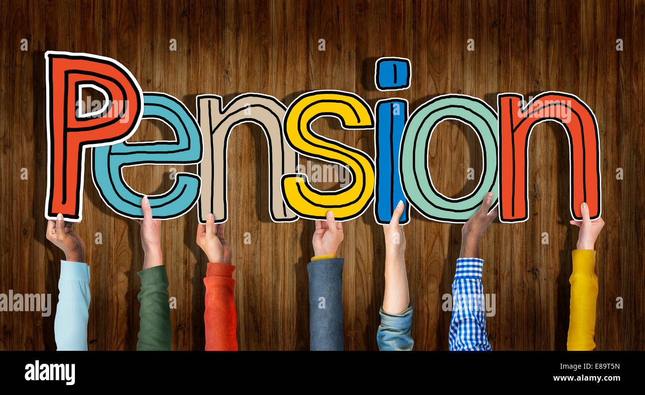Multiethnic Group of Hands Holding Letter Pension - Stock Image