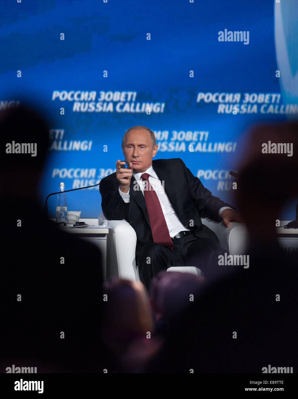 Moscow, Russia. 2nd Oct, 2014. Russian President Vladimir Putin attends the sixth 'Russia Calling' international - Stock Image
