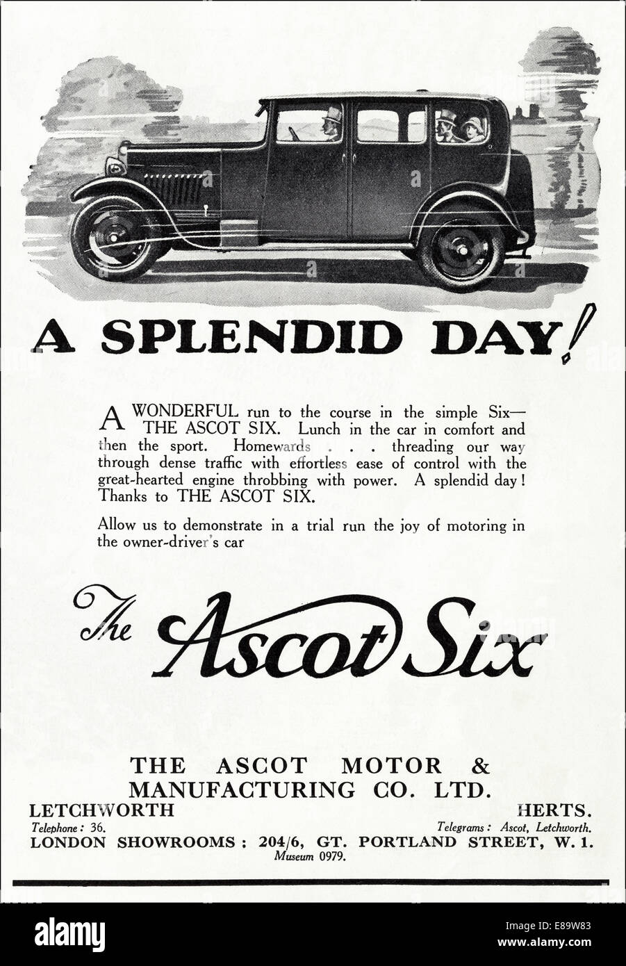1920's advertisement for ASCOT SIX motor car in English magazine dated June 1929Stock Photo