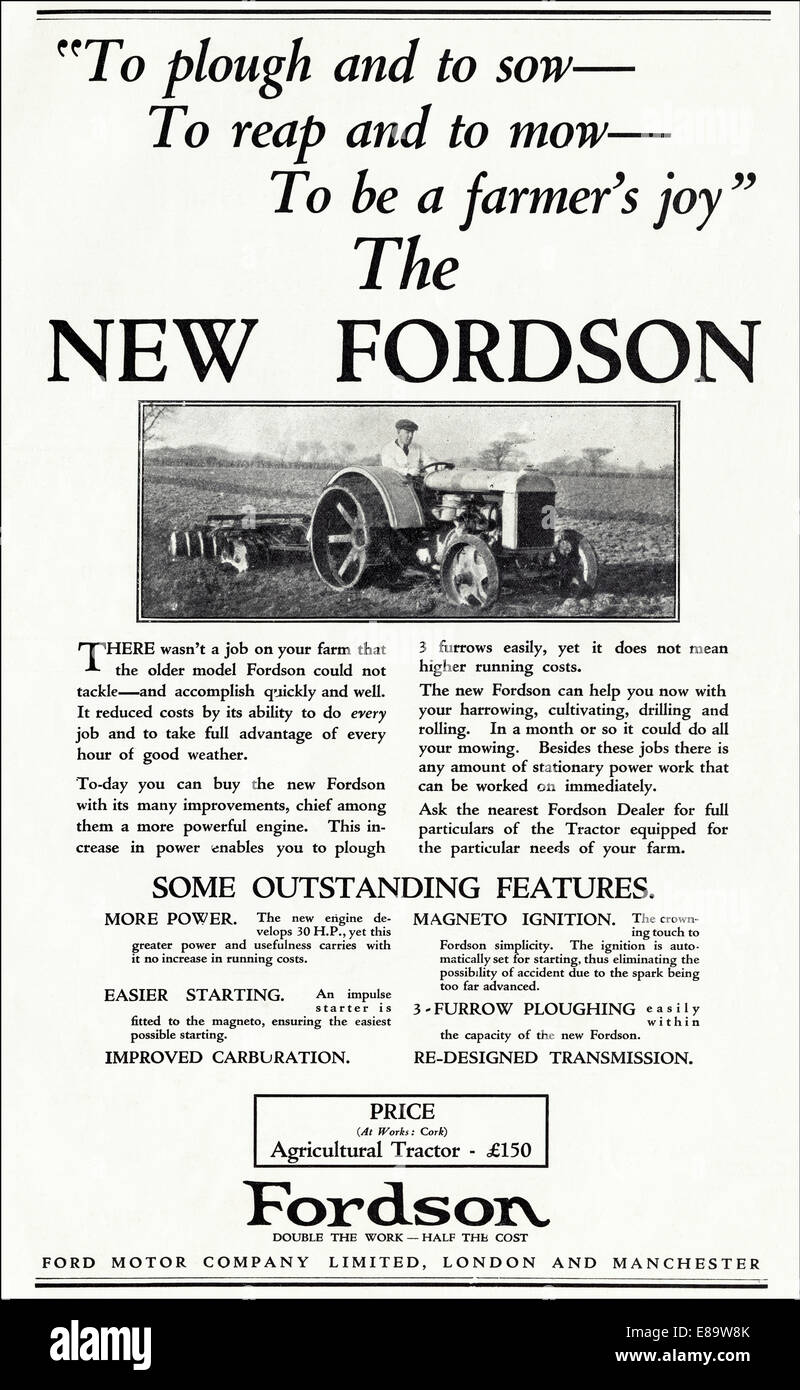 1920s advertisement for NEW FORDSON tractor by Ford Motor