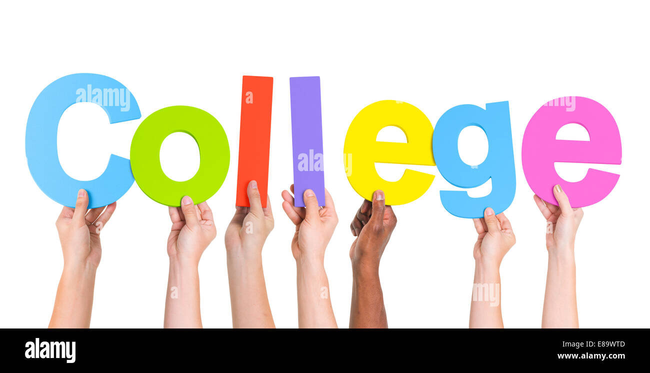 Diverse Hands Holding The Word College - Stock Image