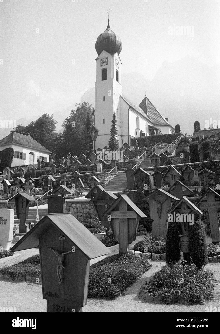 Seventies, D-Grainau, Zugspitze, Wetterstein mountains, Werdenfels Country, Alps, Upper Bavaria, Bavaria, D-Grainau Stock Photo