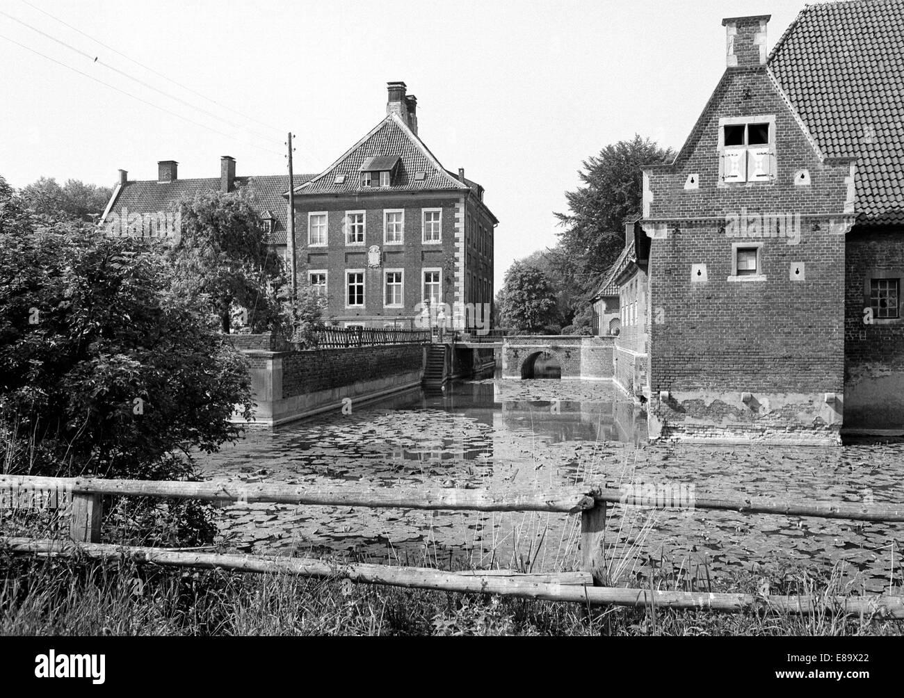 Achtziger Jahre, Wasserschloss Haus Borg in Drensteinfurt-Rinkerode im Muensterland, Nordrhein-Westfalen - Stock Image