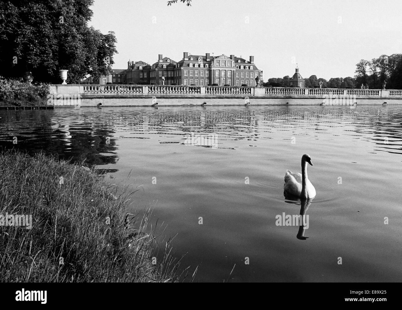 Achtziger Jahre, Wasserschloss in Nordkirchen, Muensterland, Nordrhein-Westfalen - Stock Image