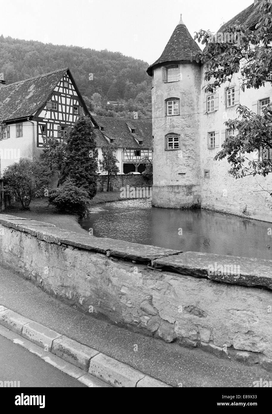 Achtziger Jahre, Wasserschloss Glatt in Sulz am Neckar, Schwarzwald, Baden-Wuerttemberg - Stock Image
