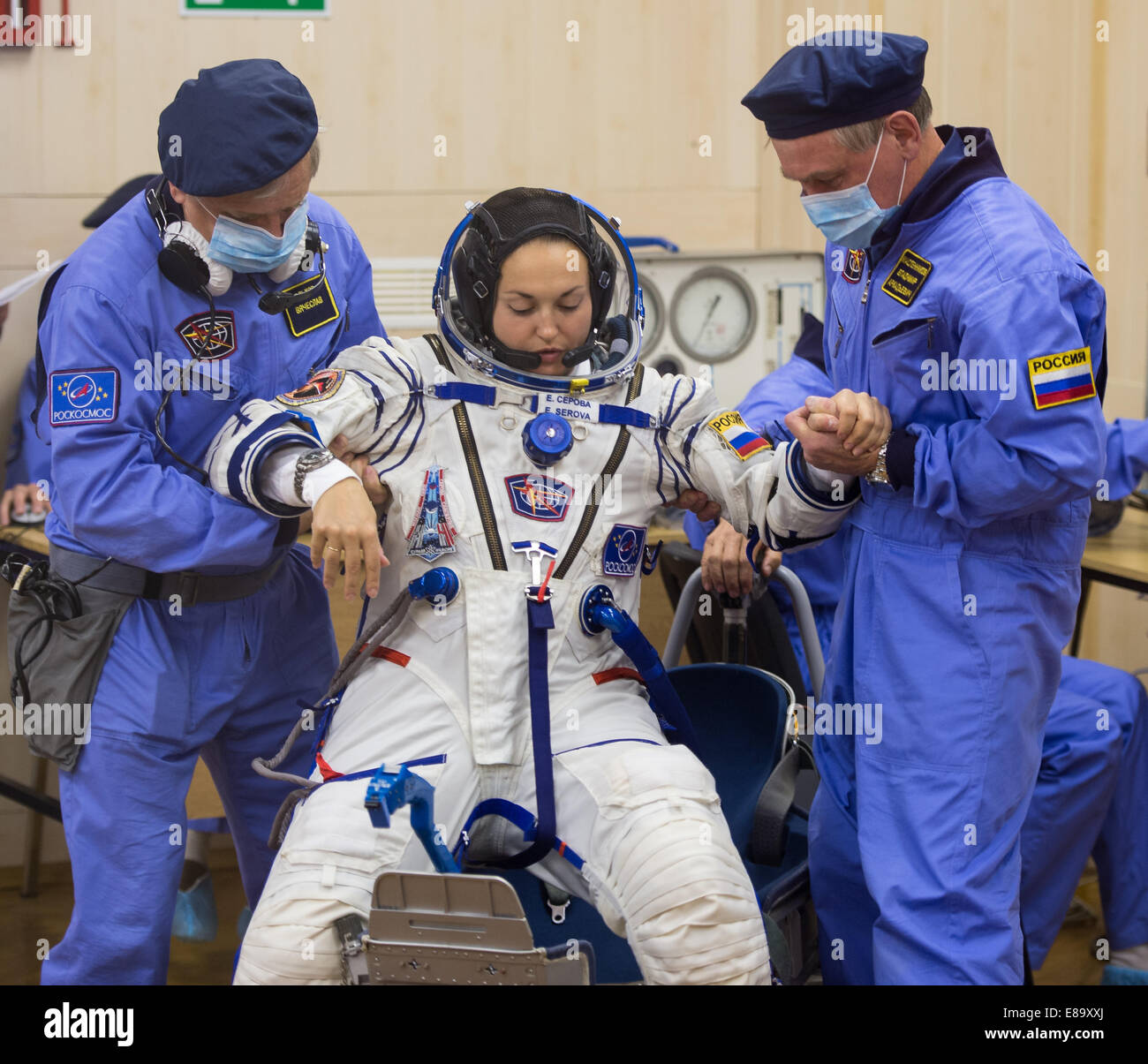 Expedition 41 Flight Engineer Elena Serova of the Russian Federal Space Agency (Roscosmos) is helped up after her - Stock Image