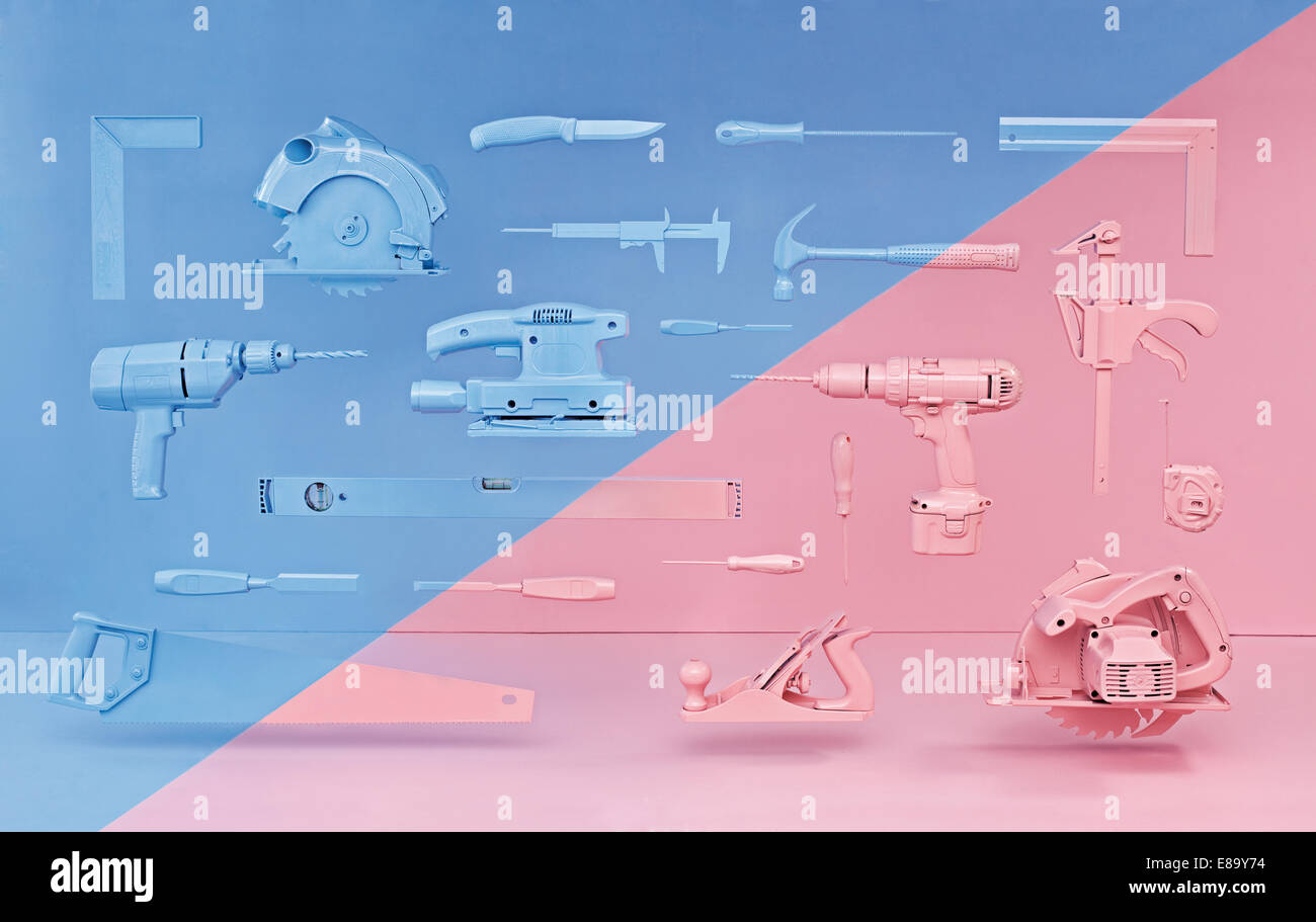 Tools hanging above ground, with a blue/pink section projected on to them - Stock Image