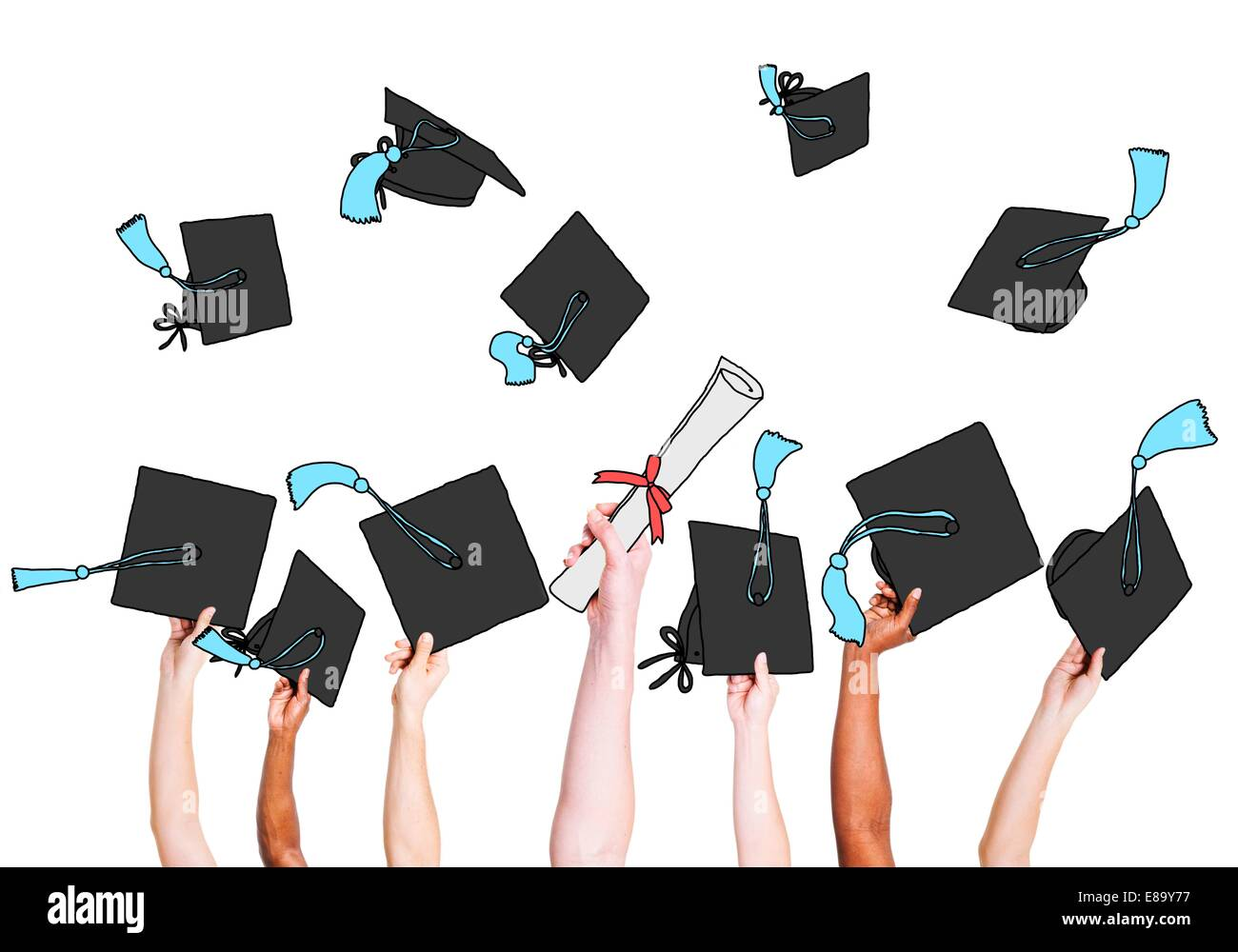 Group of Graduating Student's Hands Holding and Throwing Mortar Board - Stock Image