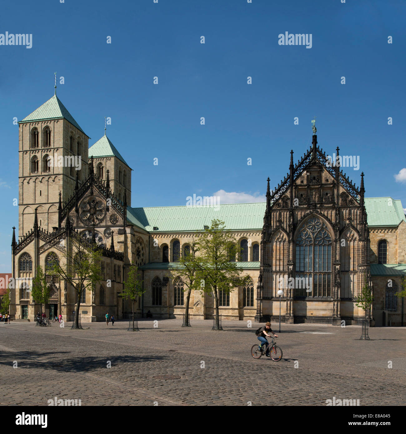Southern front to the Domplatz cathedral square, Münster Cathedral, Münster, North Rhine-Westphalia, Germany - Stock Image