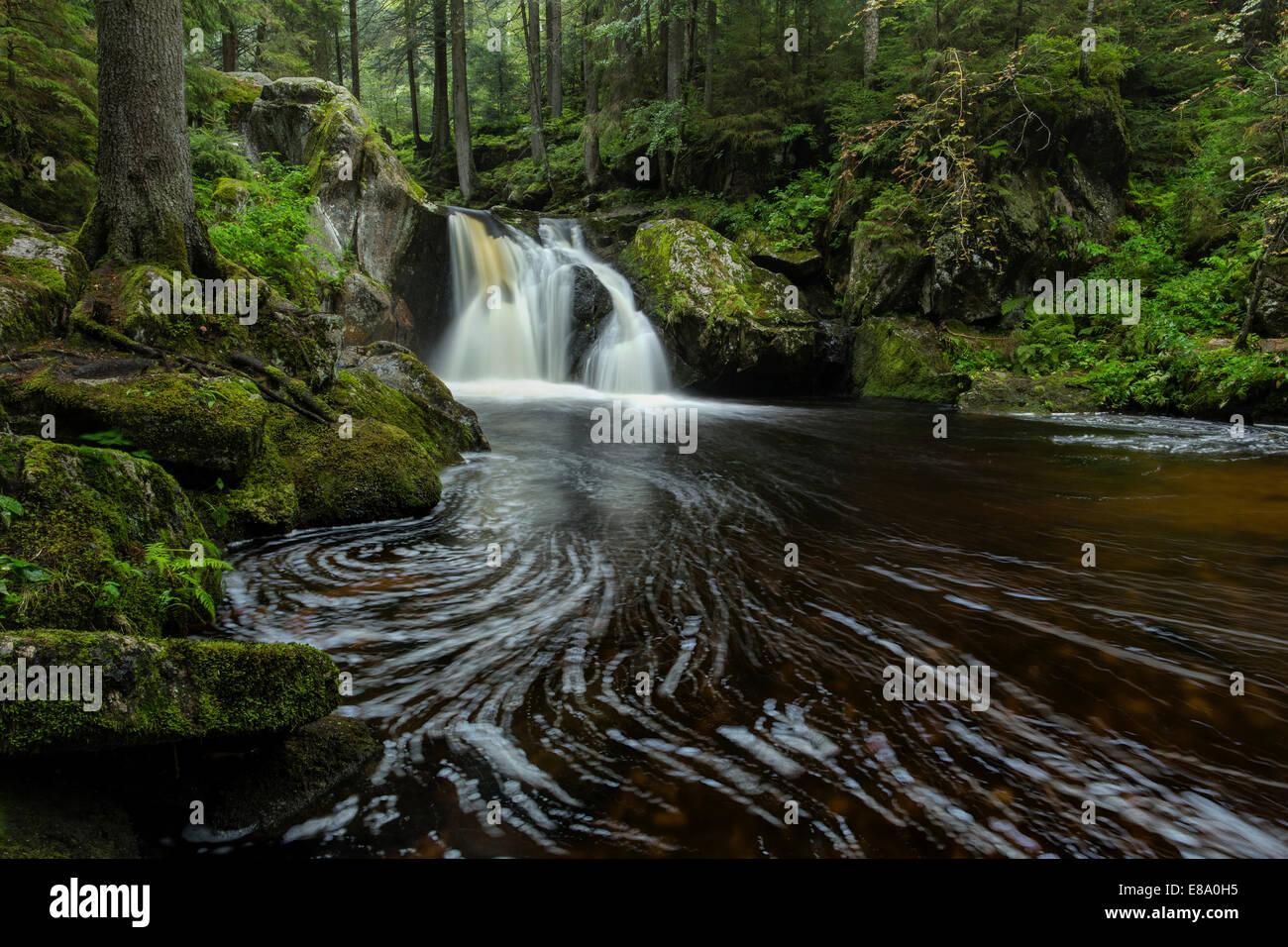 Krai-Woog Gumpen waterfall in Hotzenwald forest near Görwihl, Southern Black Forest, Baden-Württemberg, Germany Stock Photo