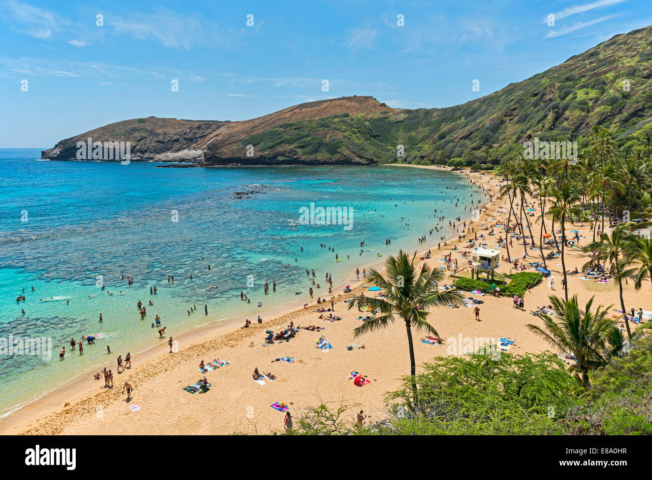 Beach, Hanauma Bay, Oahu, Hawaii, United States - Stock Image