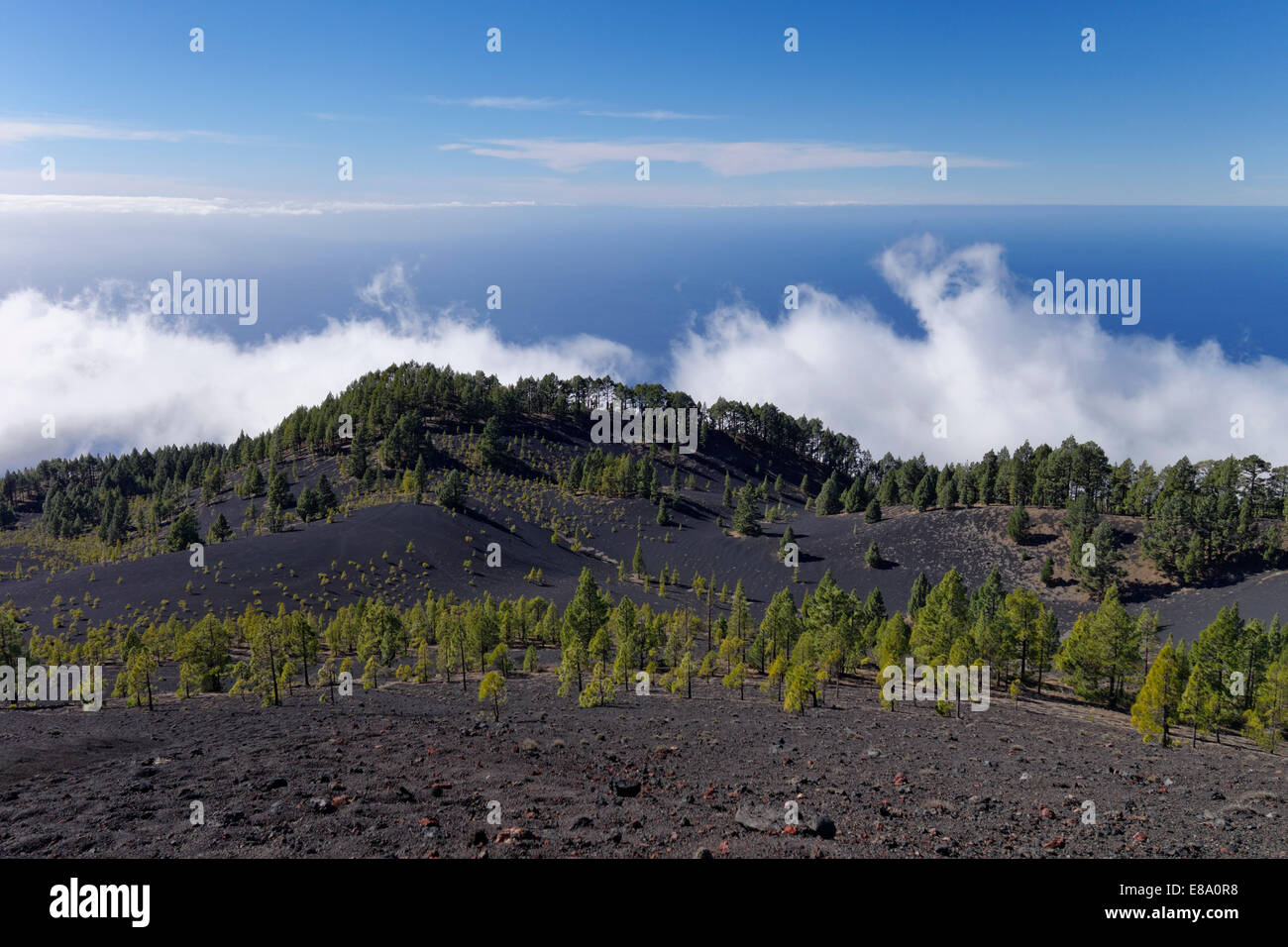 View from the Volcano San Martín, Cumbre Vieja in Fuencaliente, La Palma, Canary Islands, Spain - Stock Image