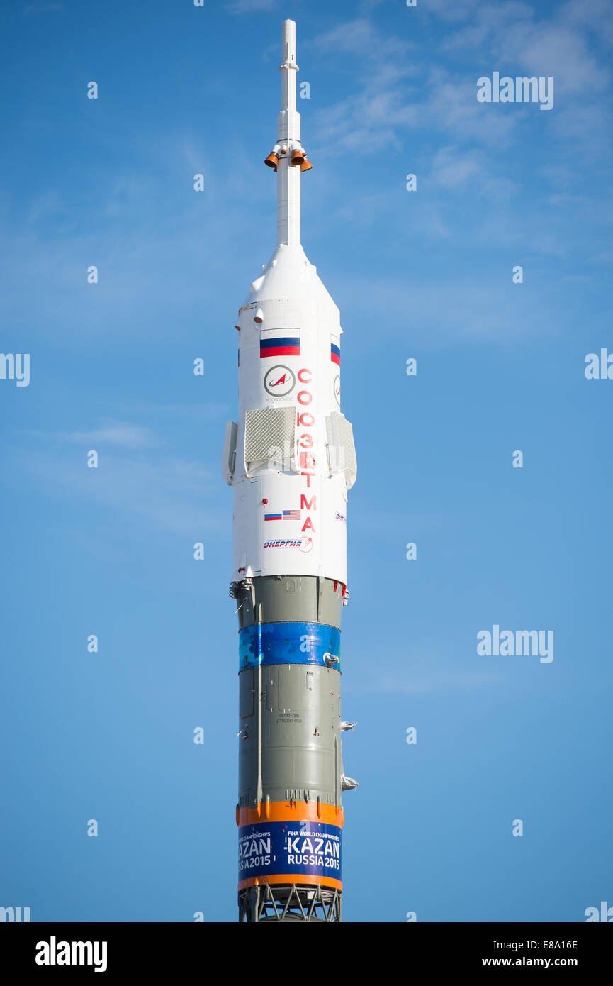 The Soyuz TMA-14M spacecraft is seen after being raised into a vertical position on the launch pad on Tuesday, Sept. - Stock Image