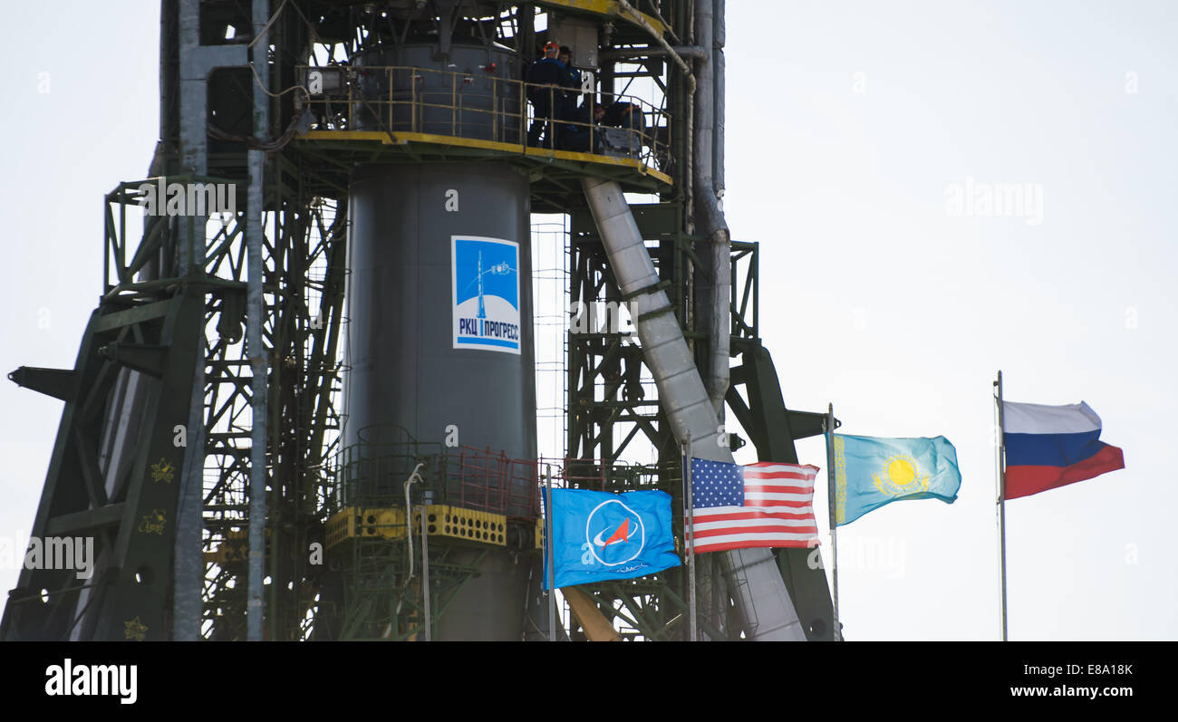 The Soyuz TMA-14M rocket is seen after the service structure arms are raised into position at the launch pad on - Stock Image