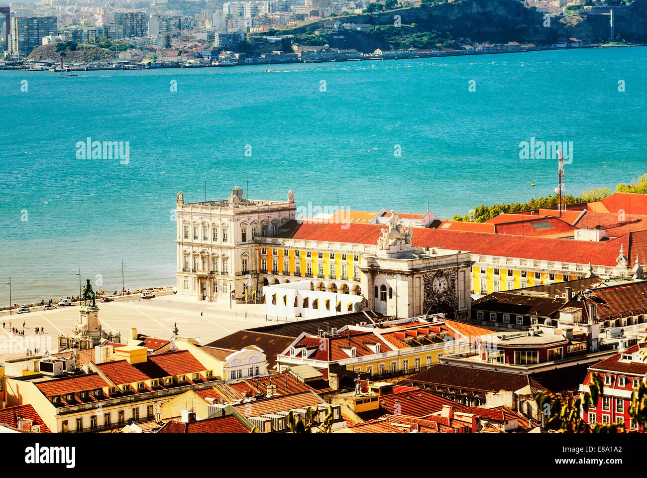 view of commerce place in Lisbon, Baixa district near the famous Tage river - Stock Image