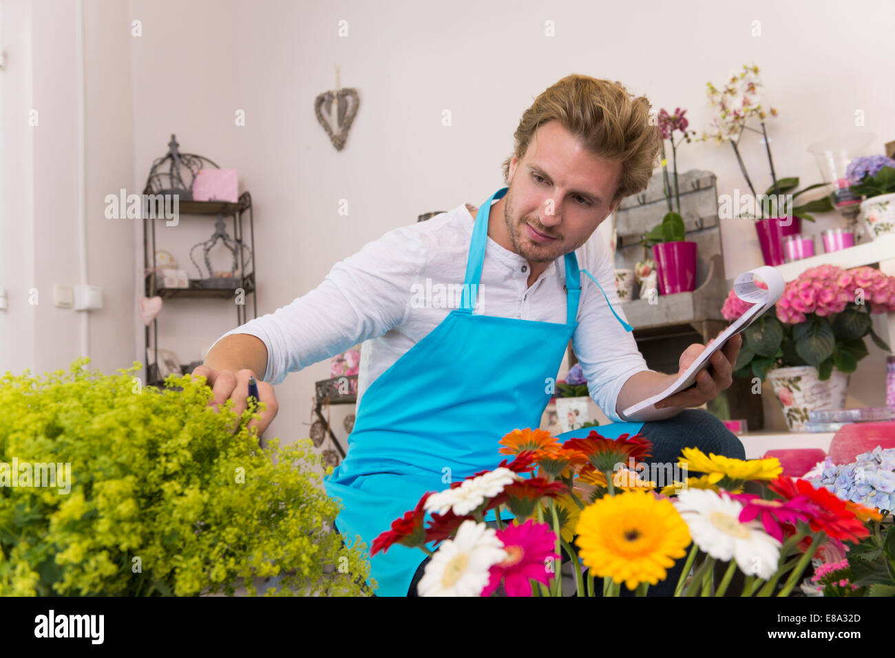 Mid adult man checking flowers in shop Stock Photo