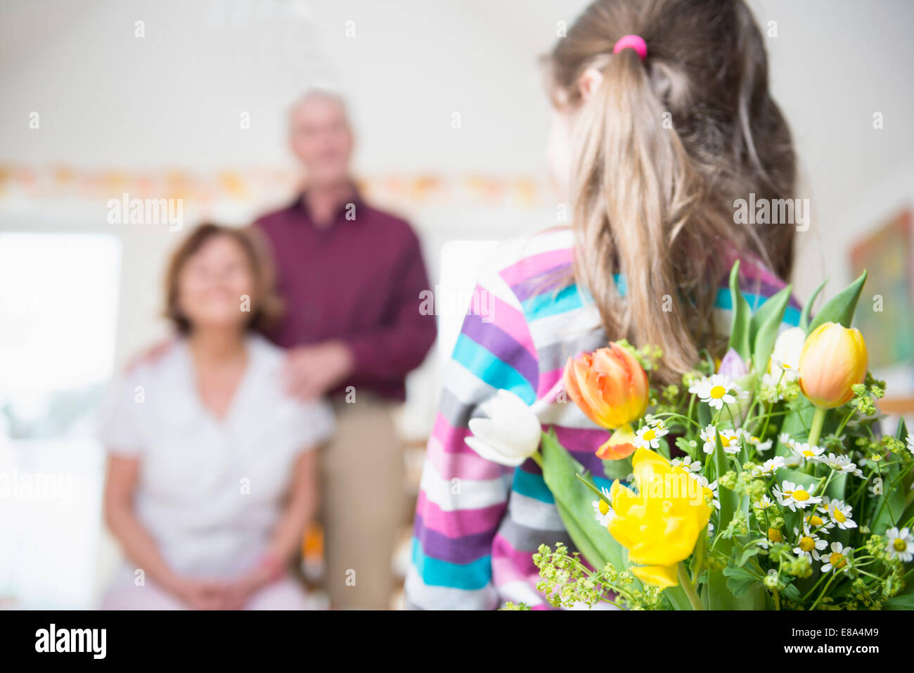 Granddaughter handover bouquet to her grandmother and grandfather in background Stock Photo