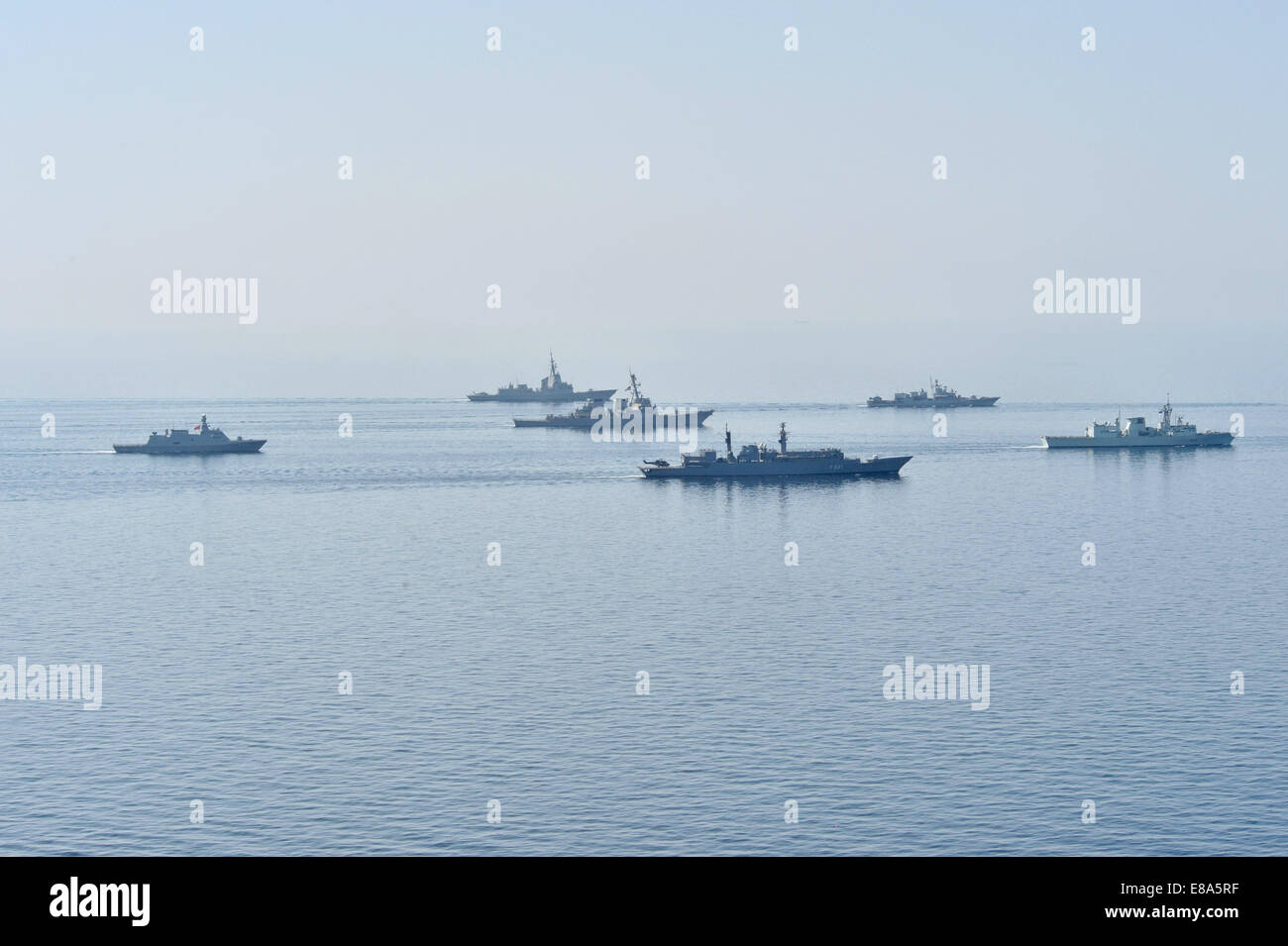 Ships from various countries steam in formation during Sea Breeze 2014 in the Black Sea Sept. 10, 2014. Sea Breeze - Stock Image