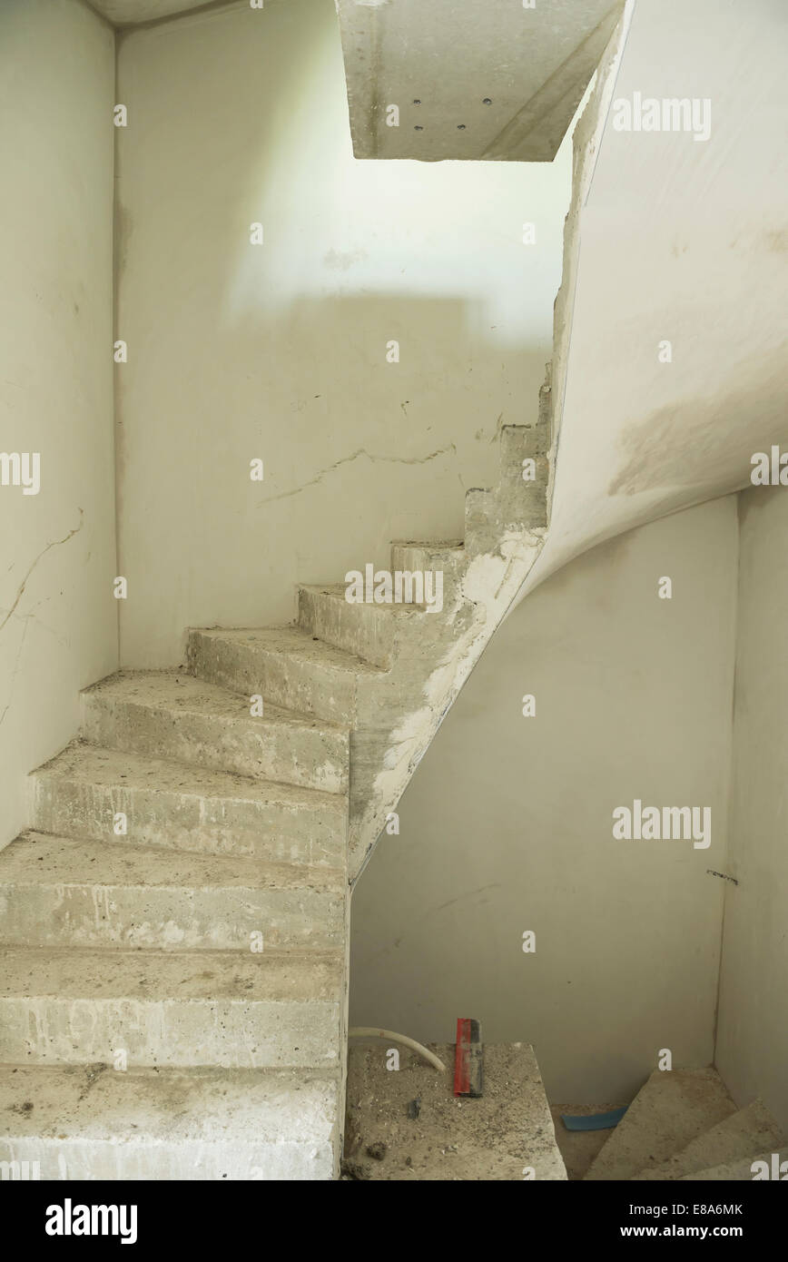 Construction site of staircase at new building - Stock Image