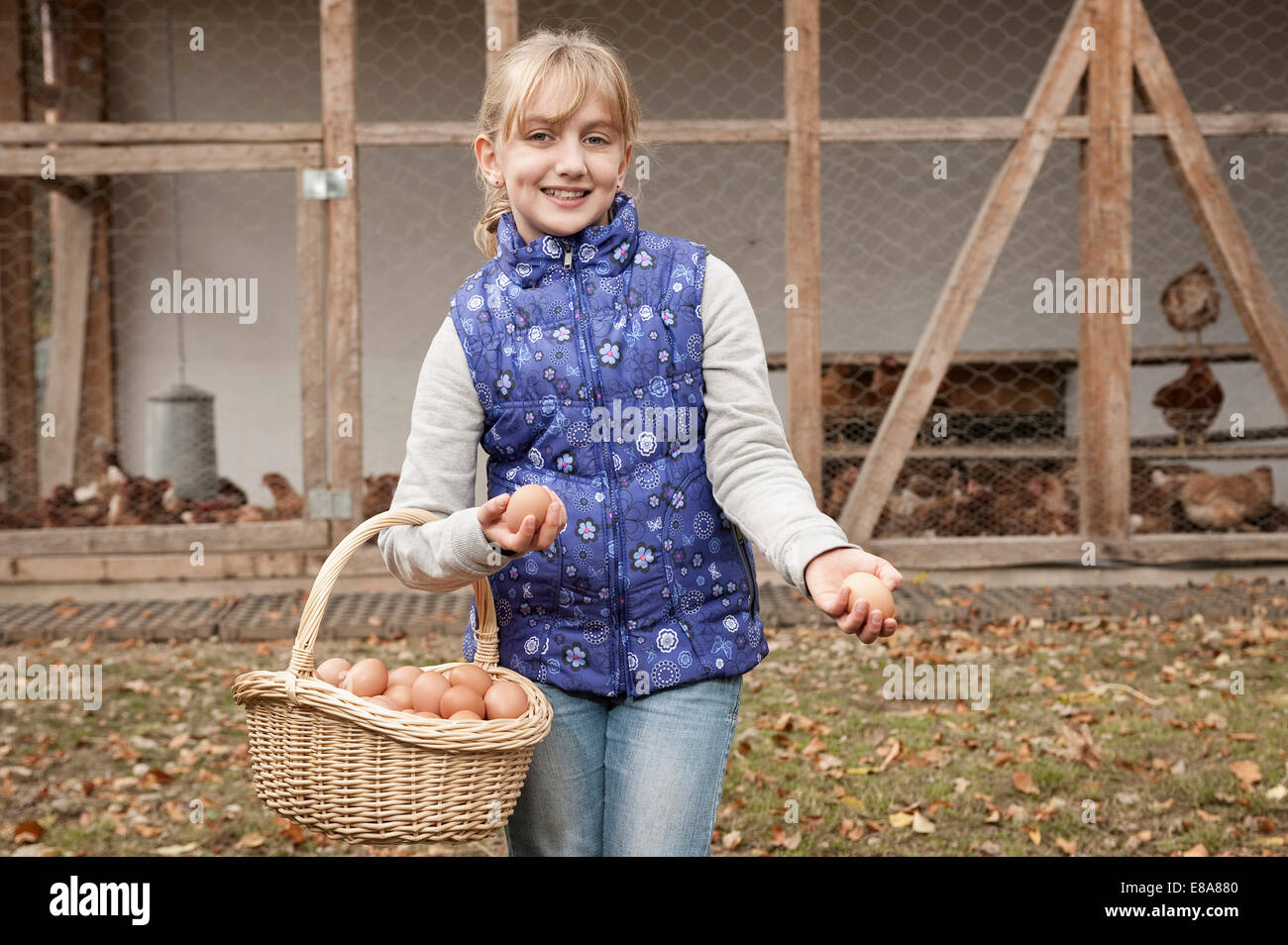 Blond girl holding basket with eggs on farm - Stock Image