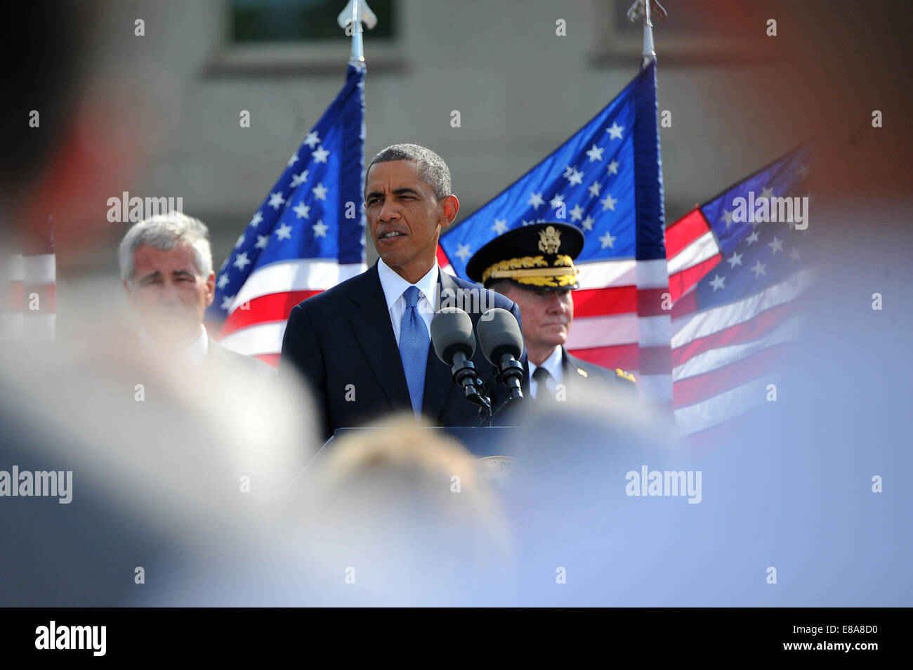 President Barack Obama speaks during the 9/11 memorial ceremony at the National 9/11 Pentagon Memorial at the Pentagon - Stock Image