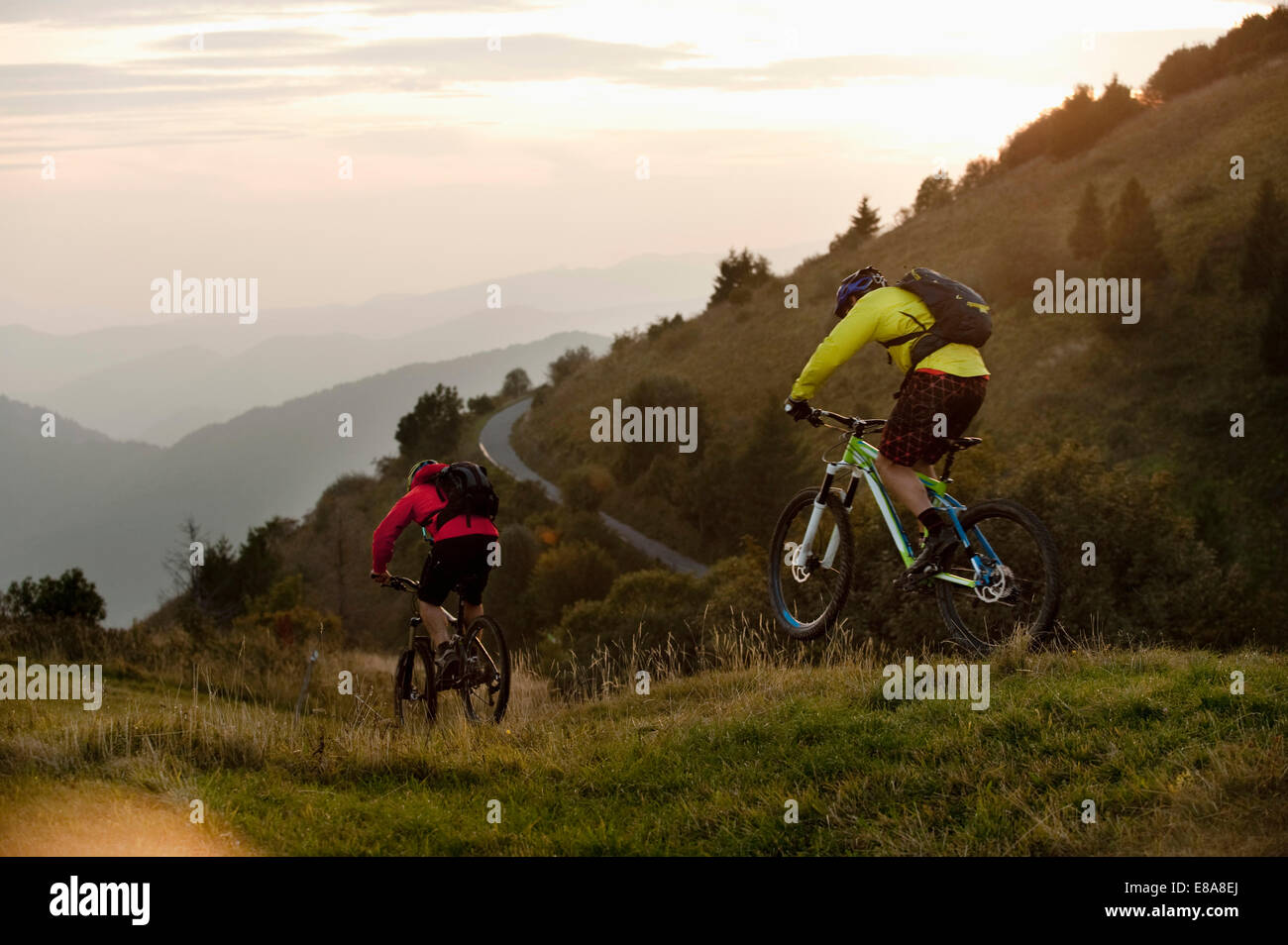 two mountain bikers on the way, Kolovrat, Istria, Slovenia - Stock Image