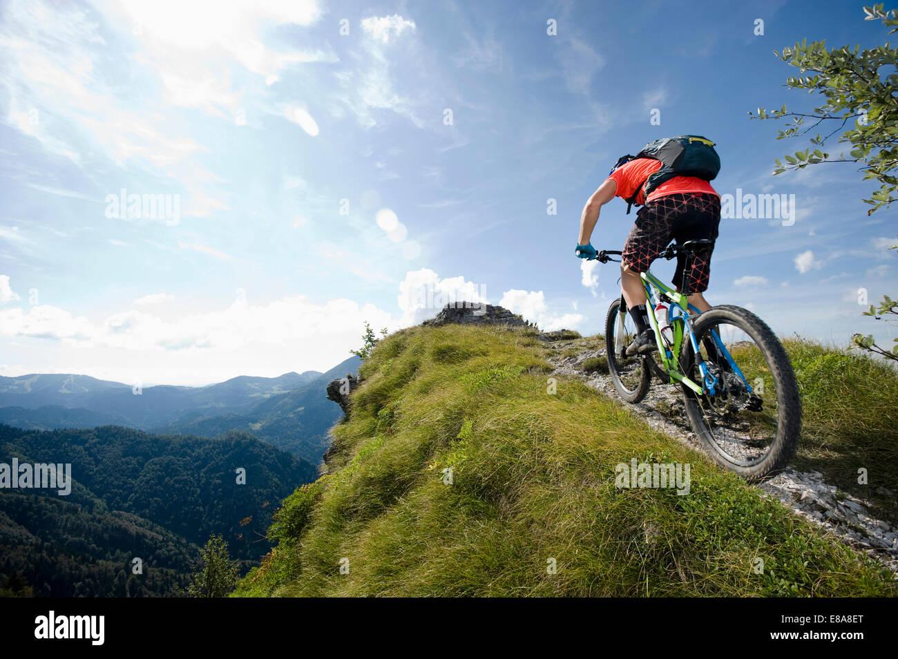 mountain biker on the way uphill, Slatnik, Istria, Slovenia - Stock Image