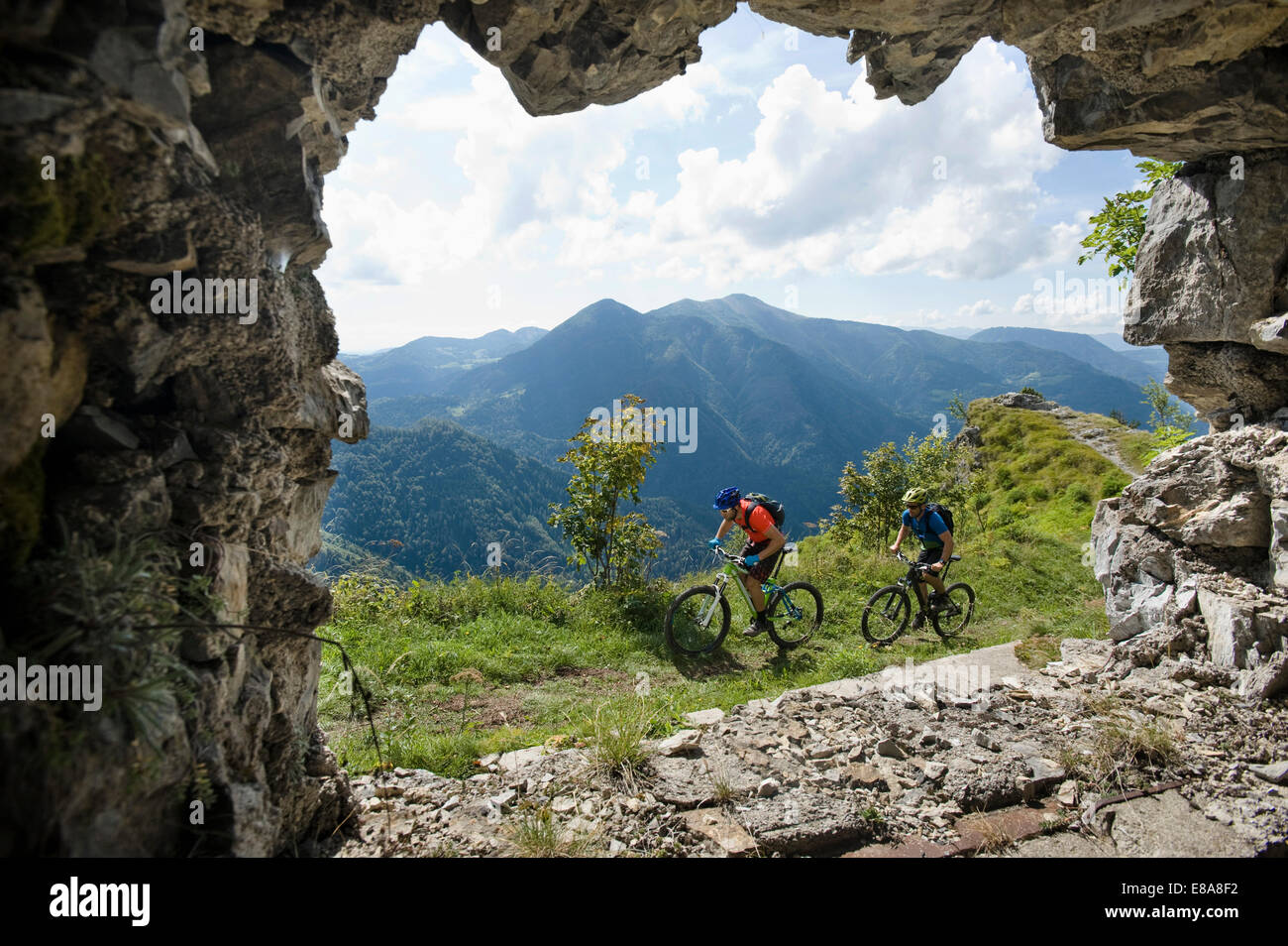 two mountain bikers on the way, Slatnik, Istria, Slovenia - Stock Image