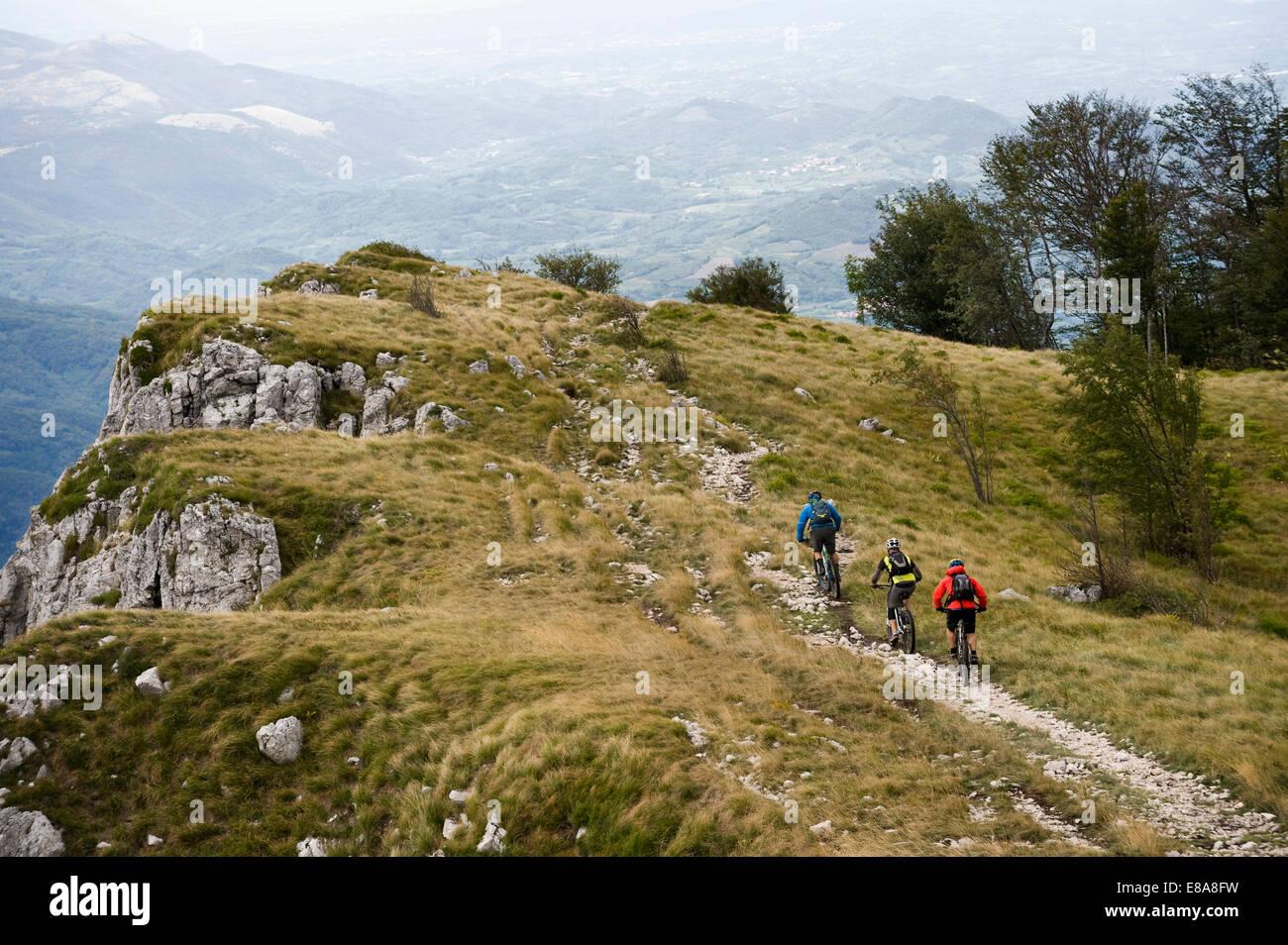three mountain bikers on the way, Vipava valley, Istria, Nanos, Slovenia - Stock Image