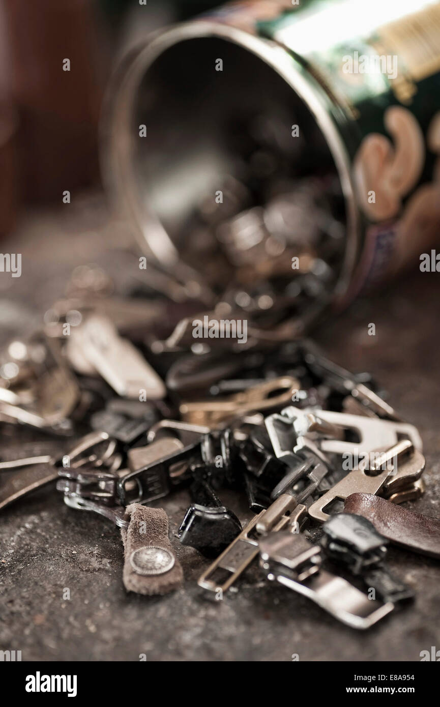 Zippers in a cobbler's shop - Stock Image
