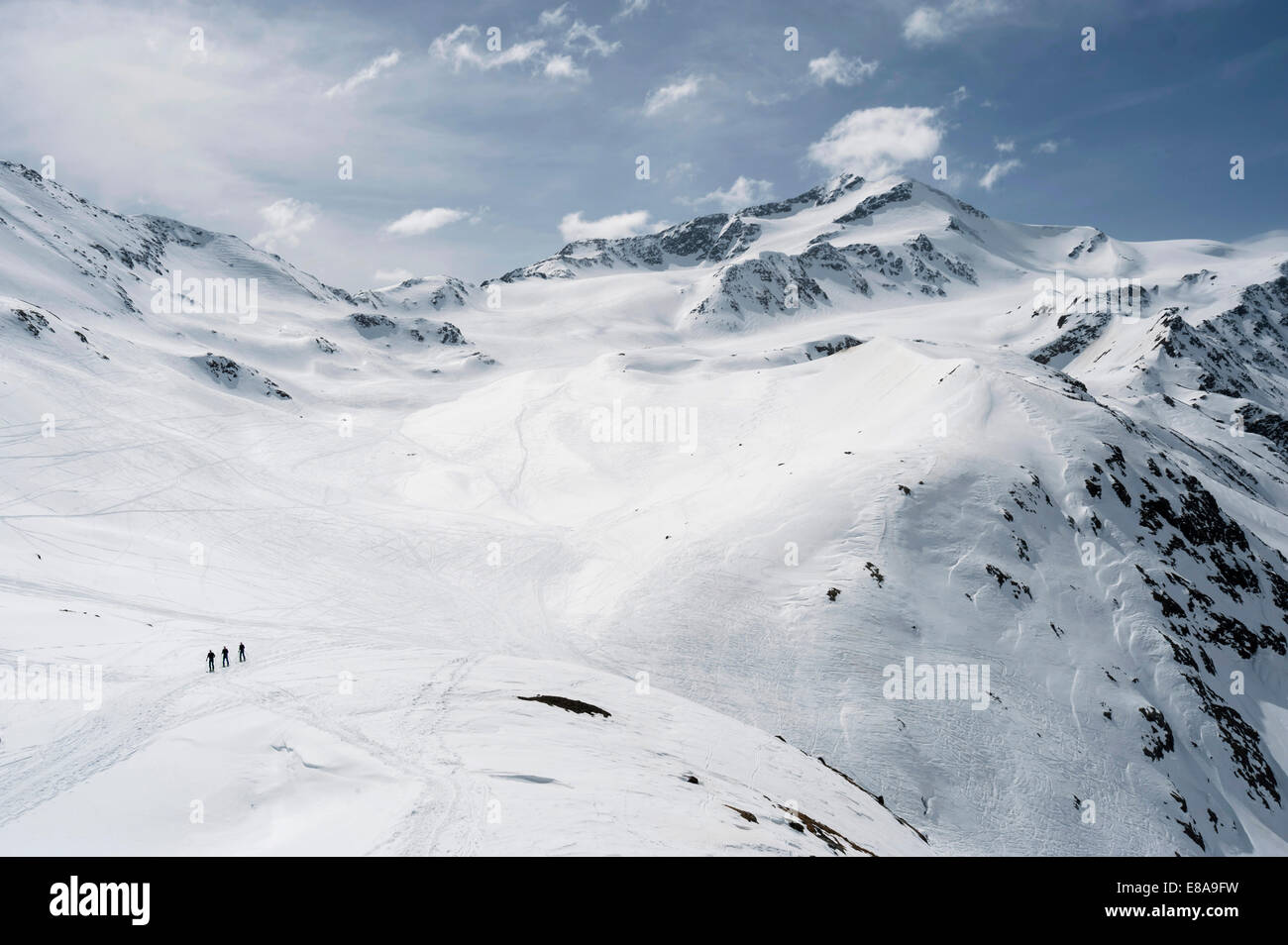 High mountains Alps landscape skiers snow - Stock Image