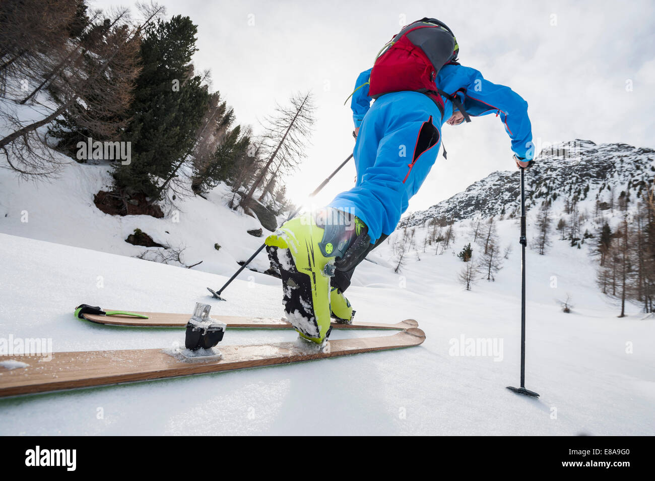 Detail close-up man cross-country skiing - Stock Image
