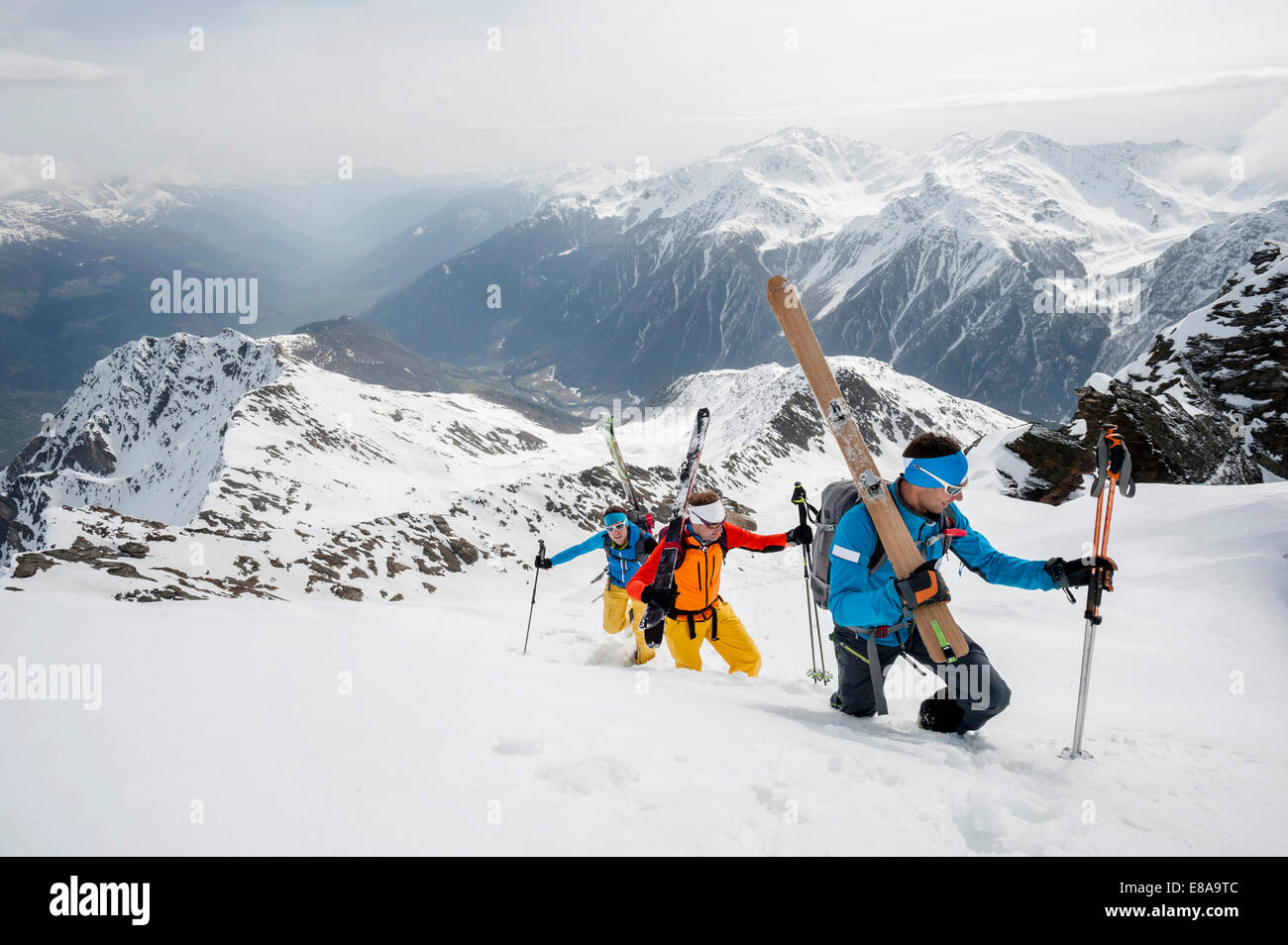 Alps deep snow skiing mountains cross-county - Stock Image