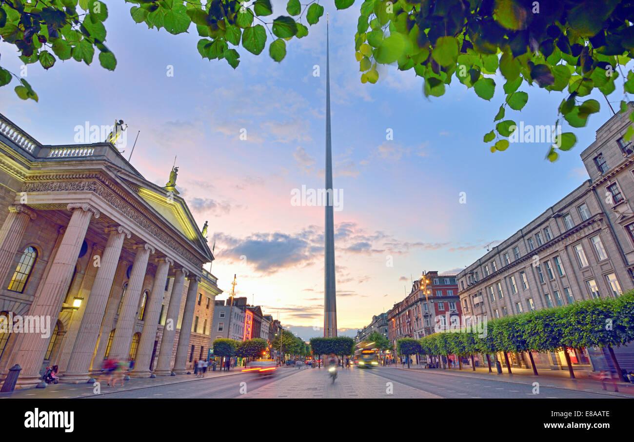 Dublin Spire  in Dublin city at sunset - Stock Image