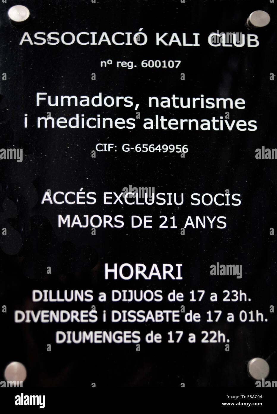 Rules of the Club Kali Cannabis association located in San Cugat, Barcelona.  BARCELONA COFFEE SHOPS CANNABIS Marijuana - Stock Image