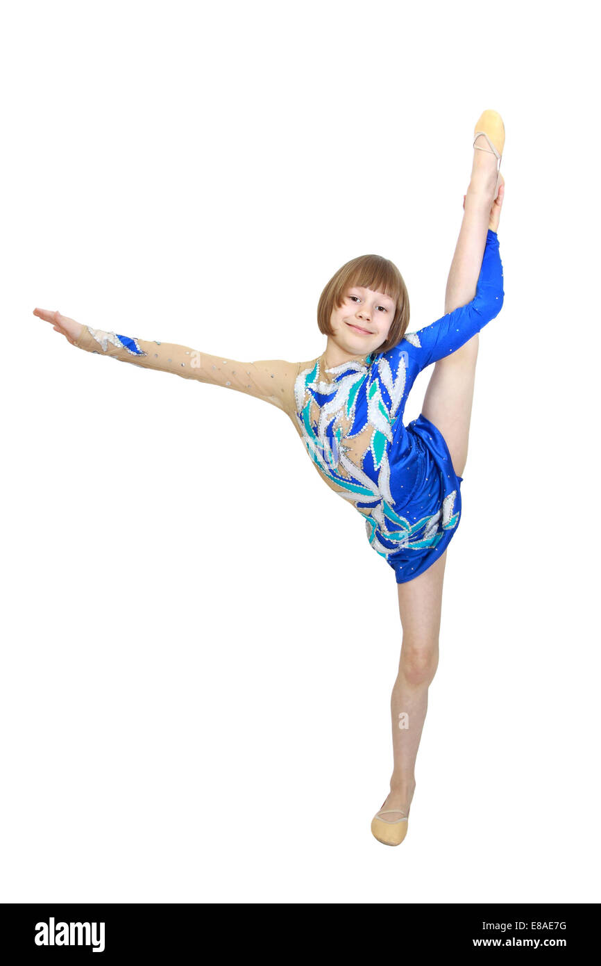 Blonde Girl In Gymnastics Outfit Balancing On Beam ...